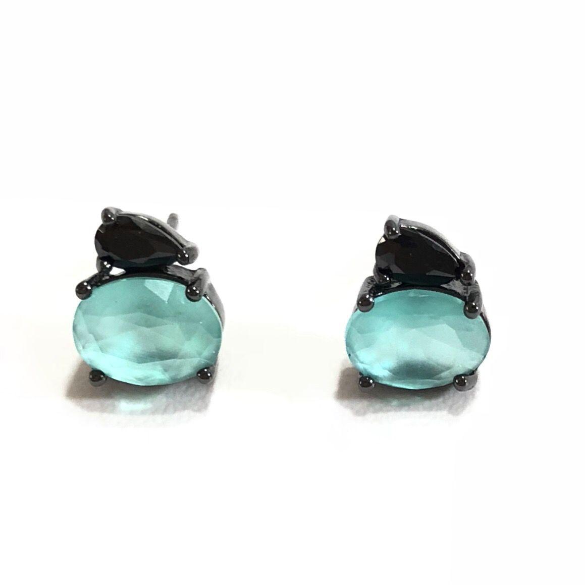 Brinco Em Prata 925 Banho Em Ródio Pedra Azul E Preta