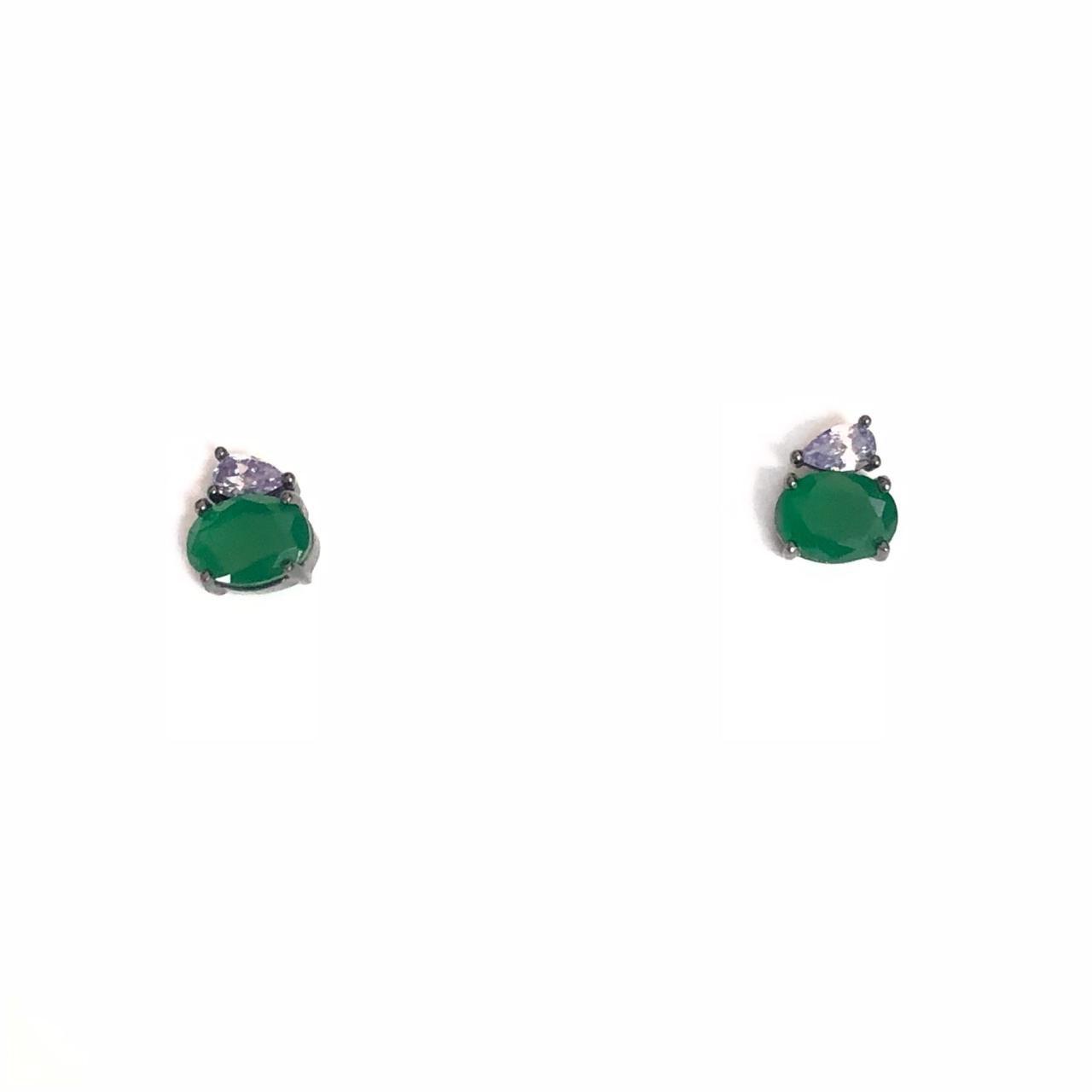 Brinco Em Prata 925 Banho Em Ródio Pedra Verde