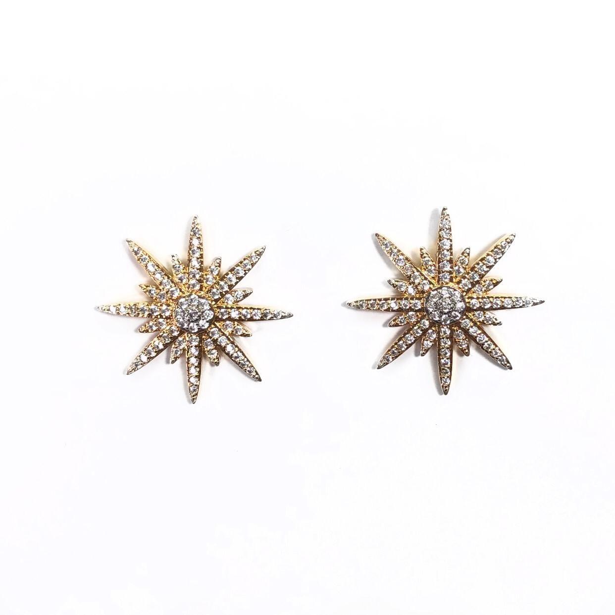 Brinco Estrela Cravejado com Zircônias Branco Banho em Ródio
