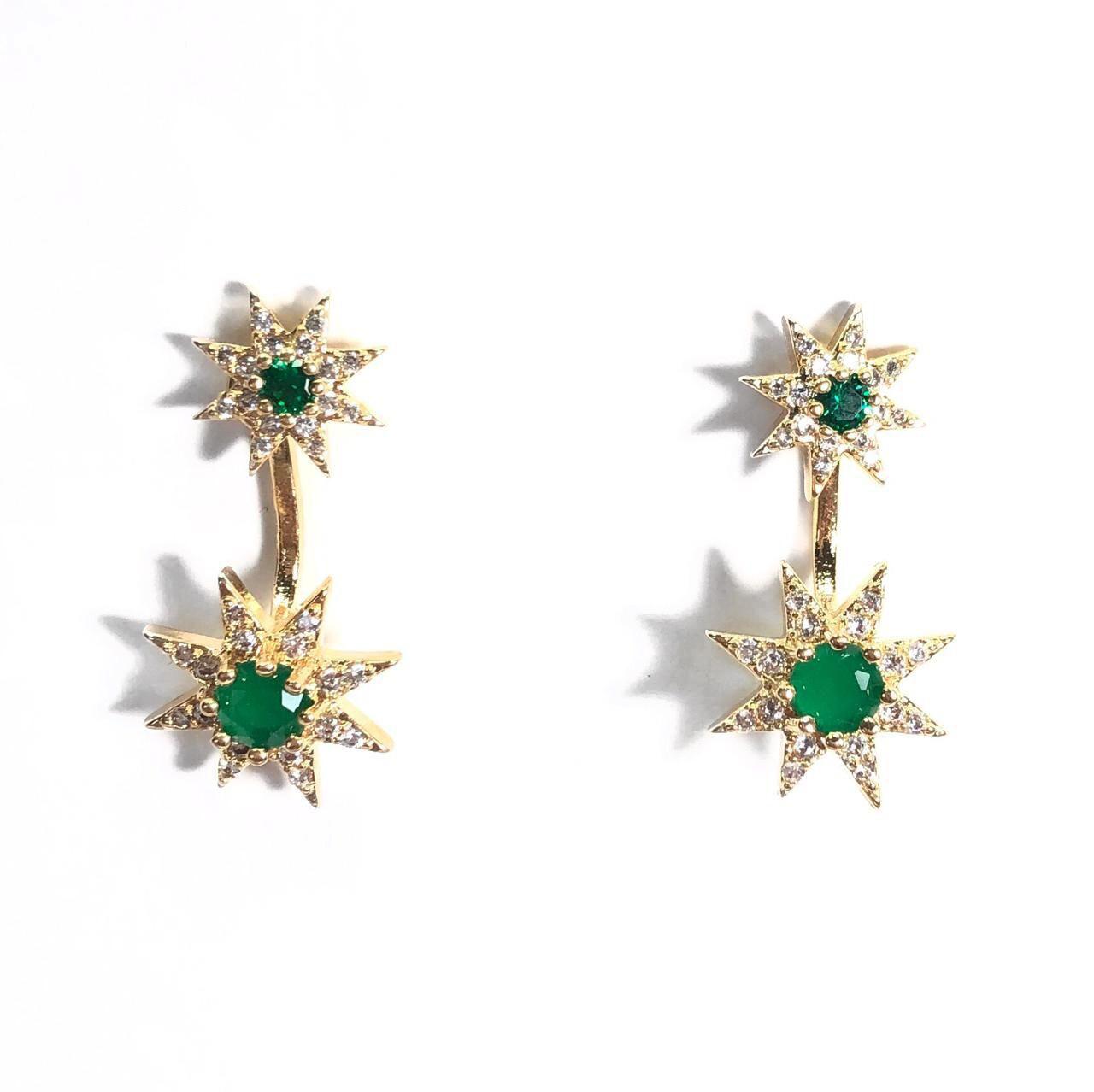 Brinco Estrela Verde Zircônias Branca Cravejadas Banho em Ouro 18k