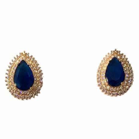 Brinco Gota Azul Borda Cravejada com Zircônias Brancas Banho em Ouro 18k