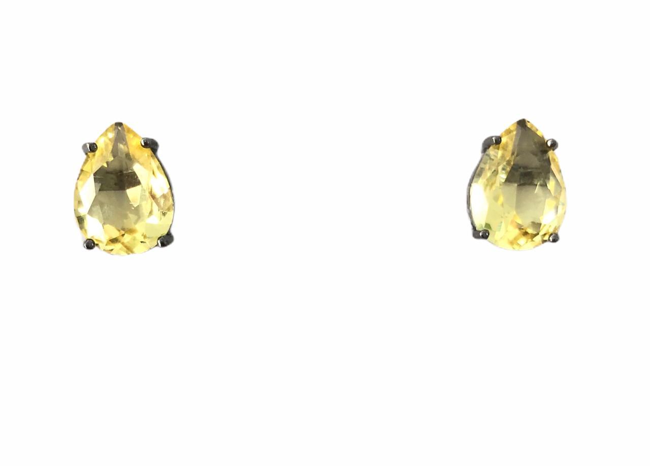 Brinco Gota Pedra Bombardeada Amarela Banho em Ródio Negro