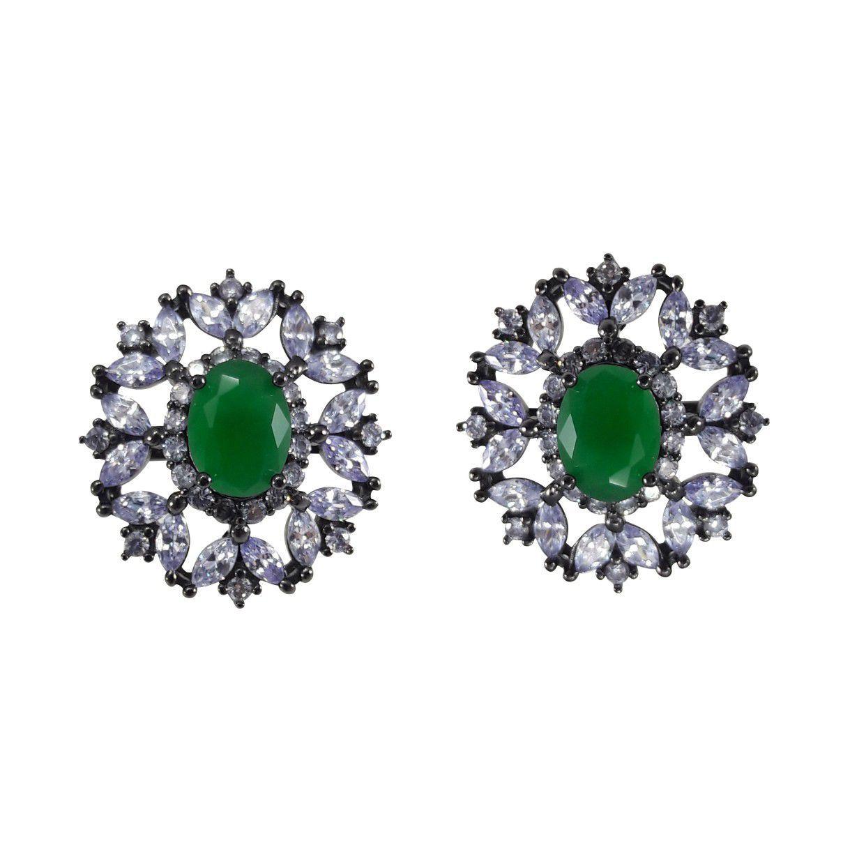 Brinco Oval Navetes Verde em Prata 925