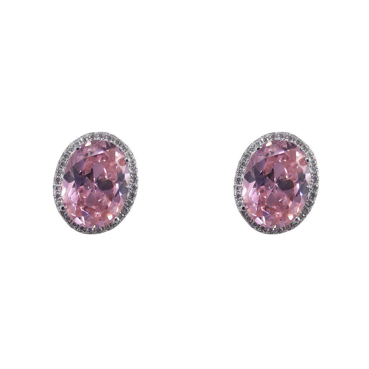 Brinco Oval Zircônia Rosa E Cristal em Prata 925