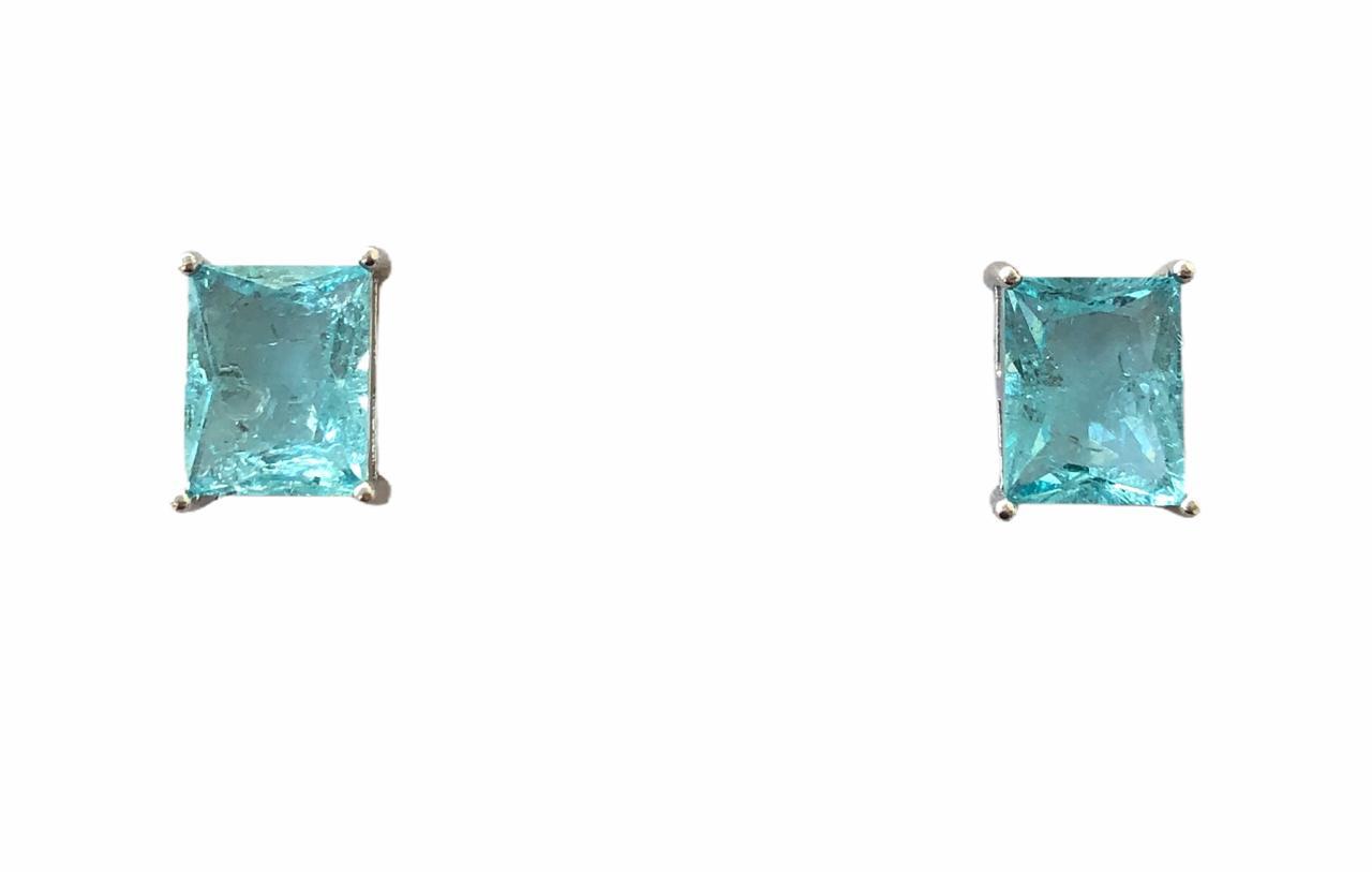 Brinco Quadrado Azul Turquesa Banho em Ródio
