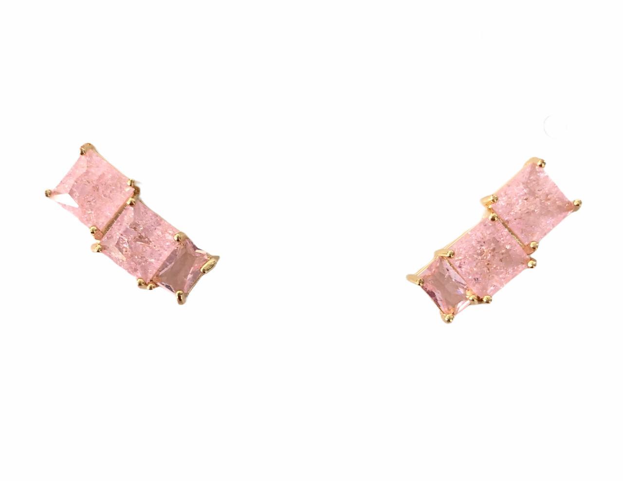 Brinco Quadrado Zircônia Rosa Banho em Ouro 18K