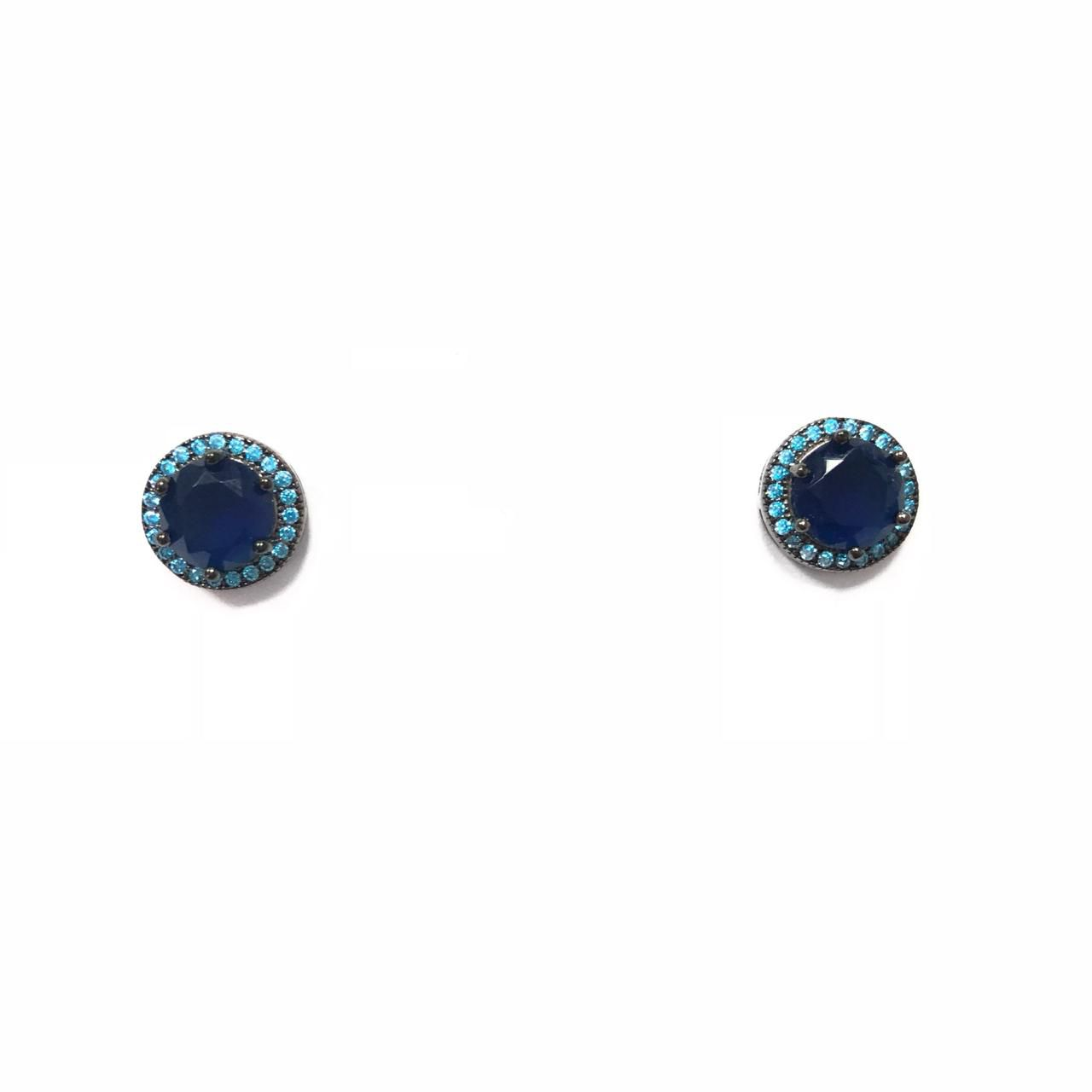 Brinco Redondo em Prata 925 com  Zircônia Azul Banho em Ródio Negro