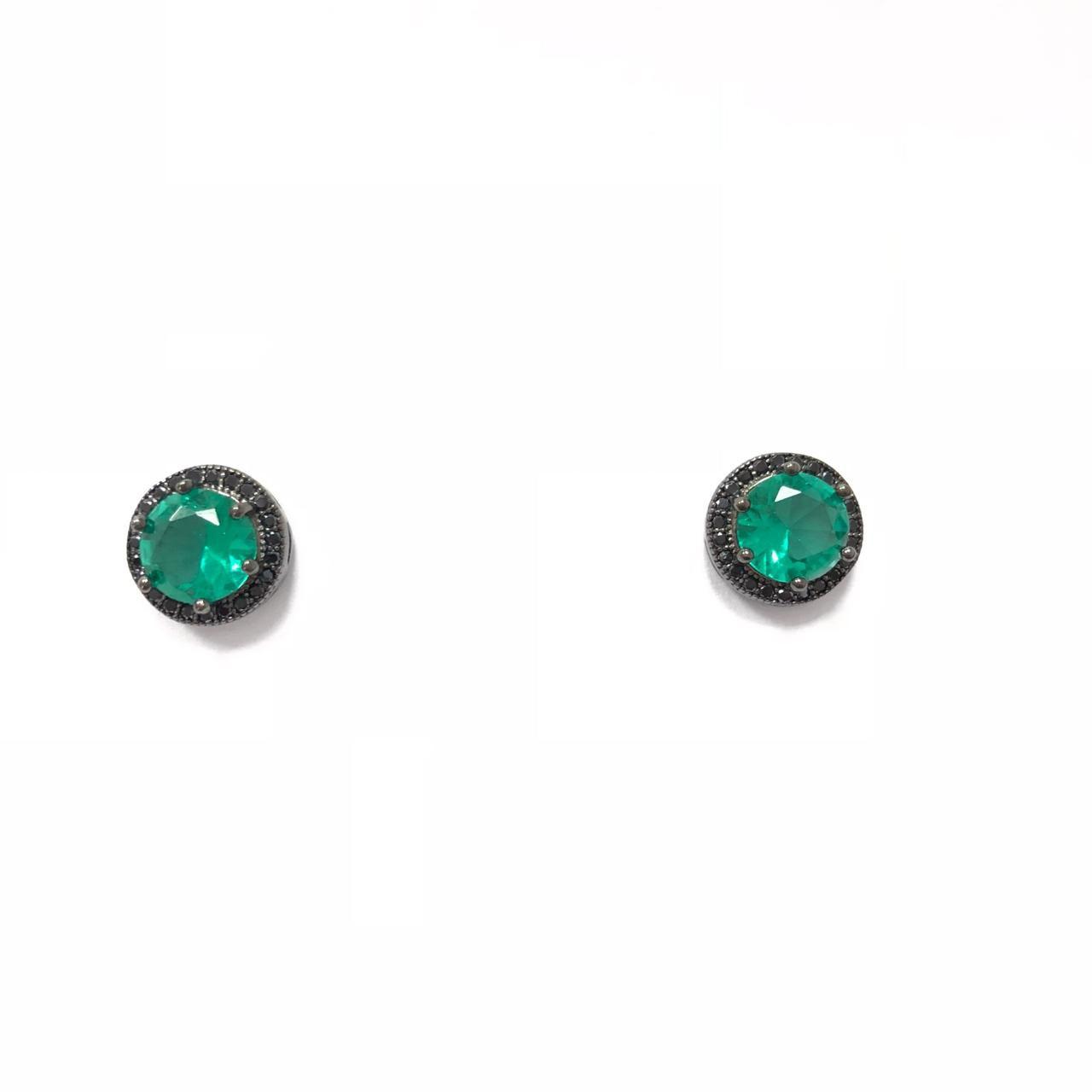 Brinco Redondo em Prata 925 com  Zircônias Verde e Preta Banho em Ródio Negro