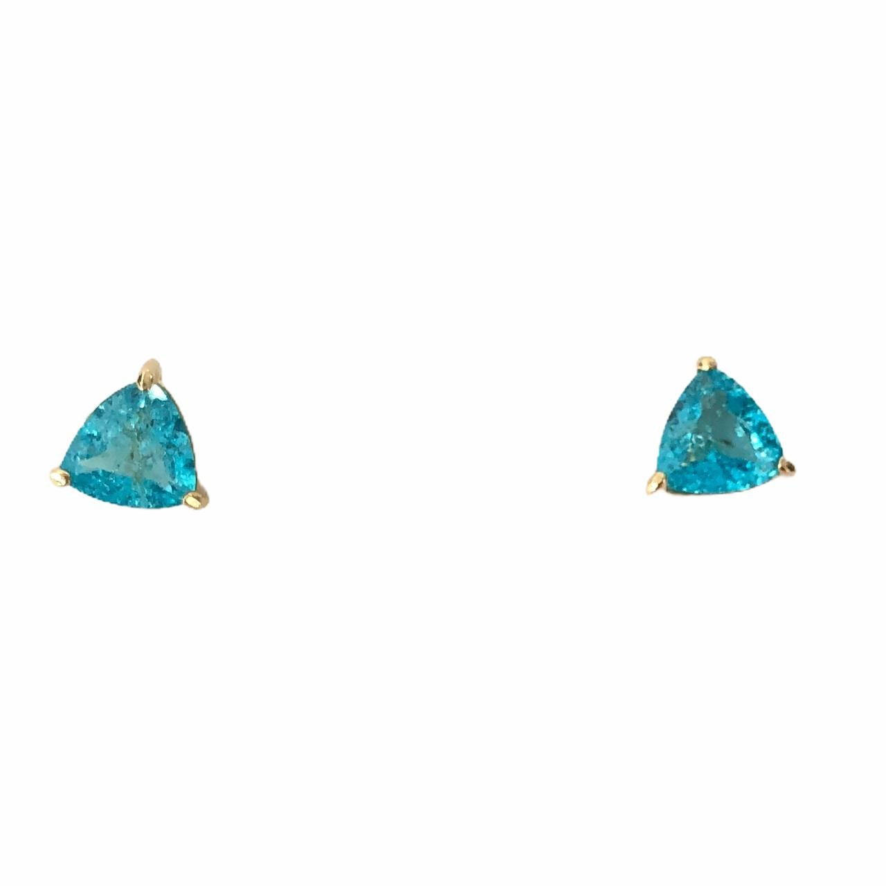 Brinco Triângulo Zircônia Azul Bombardeada Banho em Ouro 18k
