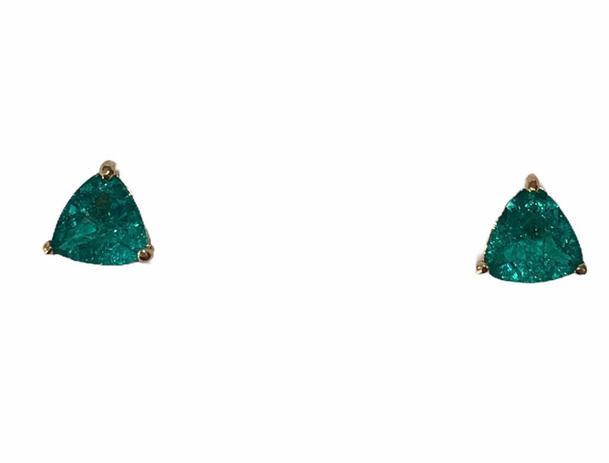 Brinco Triangulo  Zircônia Verde Bombardeada Banho em Ouro 18k
