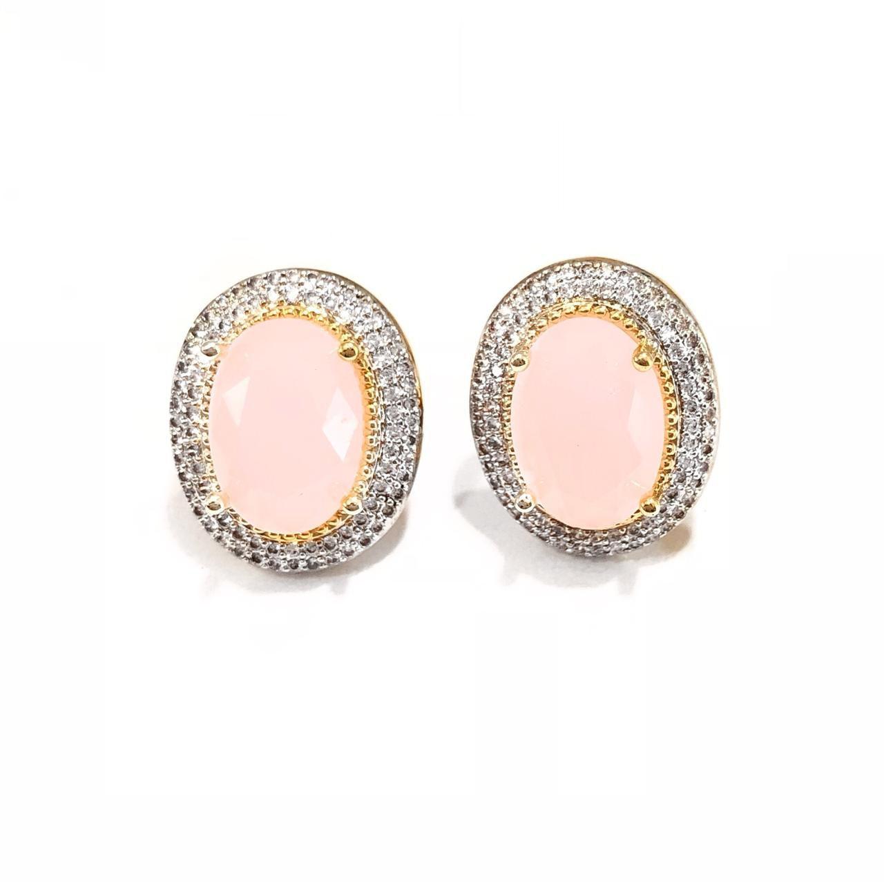 Brinco Zircônias Branca E Cristal Rosa Banho Em Ouro 18K