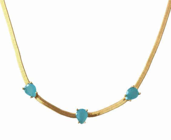 Choker Gotas Azul Turquesa Banhado em Ouro 18k