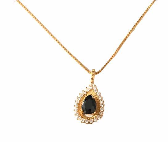 Colar Cravejado em Zirconia Gota Pedra Preta Banhado em Ouro 18k