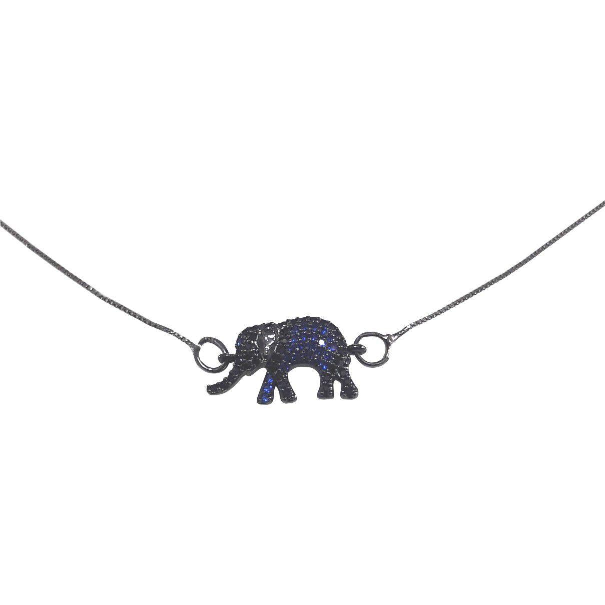 Colar Elefante Cravejado Banho Em Ródio