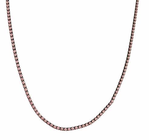 Colar Longo Cravejado com Zircônia Rosa Banho em Ródio Negro