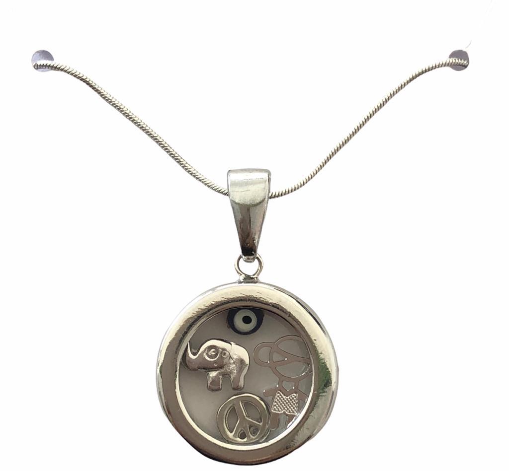 Colar Mãe de Menino e Amuletos Banho em Ródio