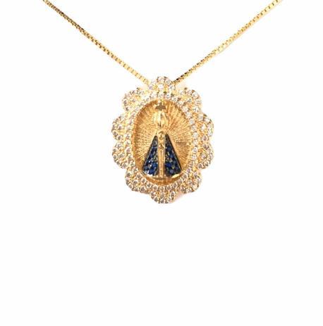 Colar Medalha Nossa Senhora Aparecida Zirconia Banhado em Ouro 18k