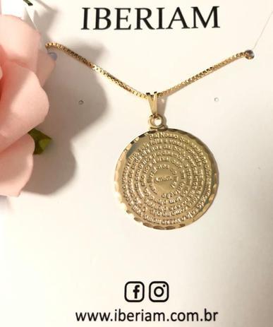 Colar Medalha Pai Nosso Banhado em Ouro 18k