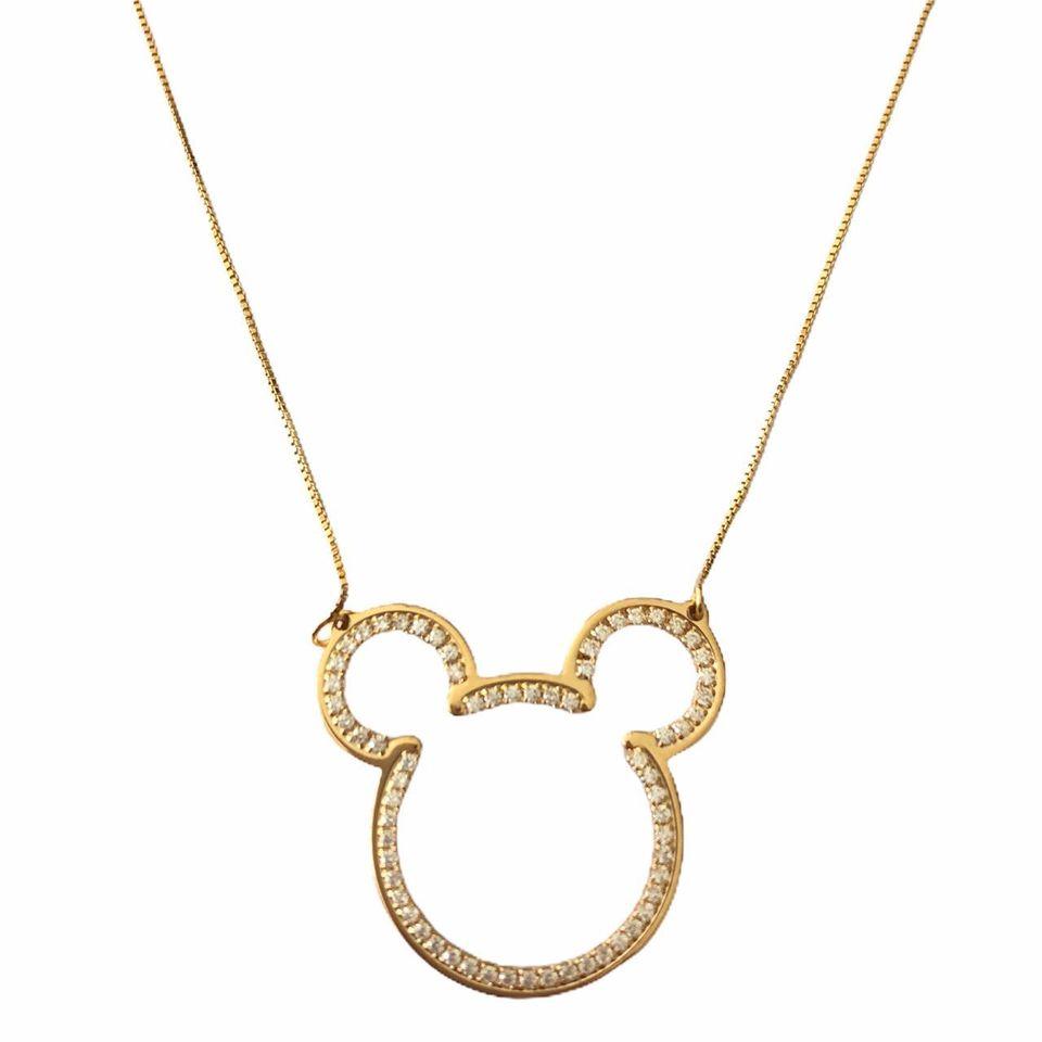 Colar Mickey Cravejado em Zirconia Branca  Banhado em Ouro 18k
