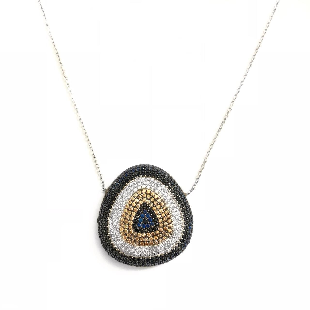 Colar  Olho Grego Em Prata 925 Cravejado Com Microzircônias Azul Branca E Amarela