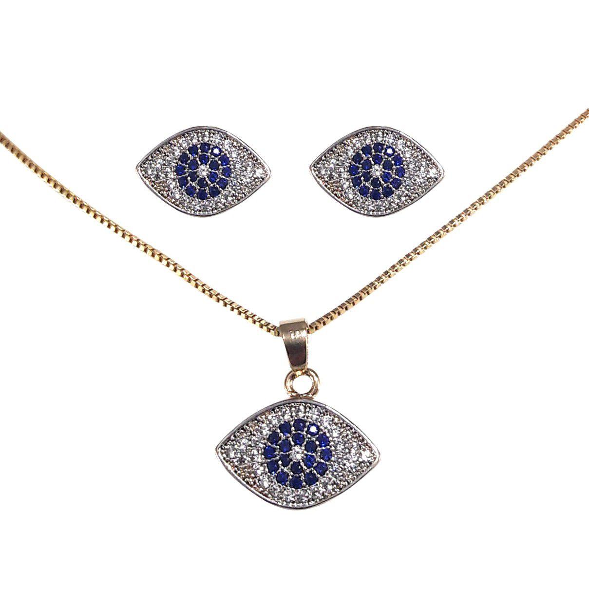Conjunto Olho Grego banho em ouro 18k cravejado com zircônias brancas  e azuis