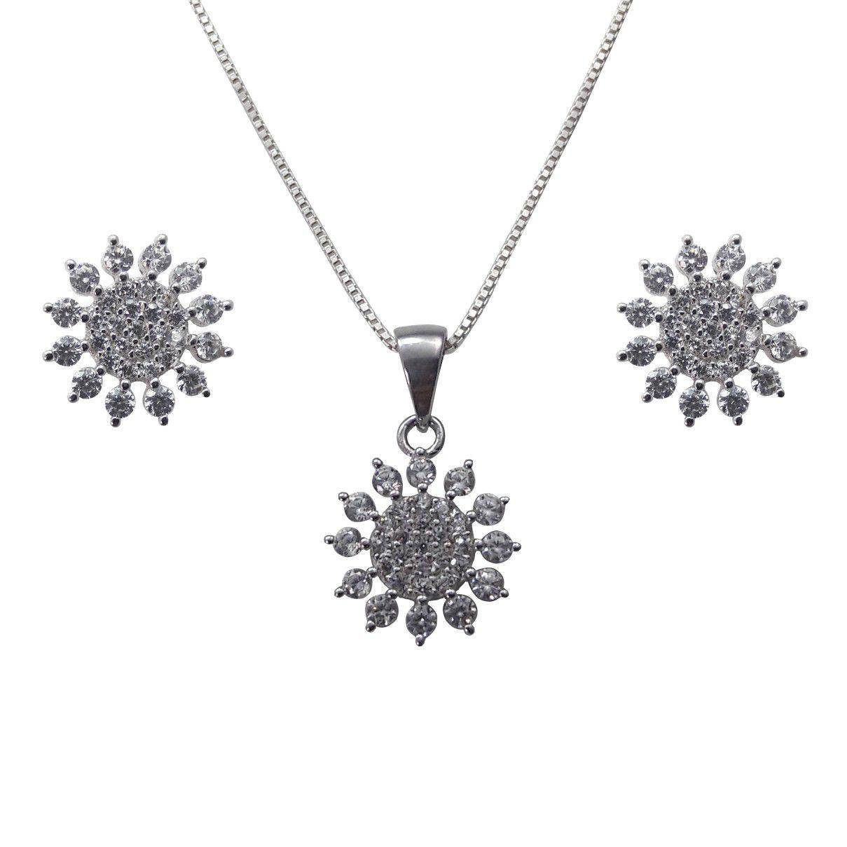 Conjunto Flor  Brinco E Pingente em Prata 925 Cravejado com  Zircônias Brancas