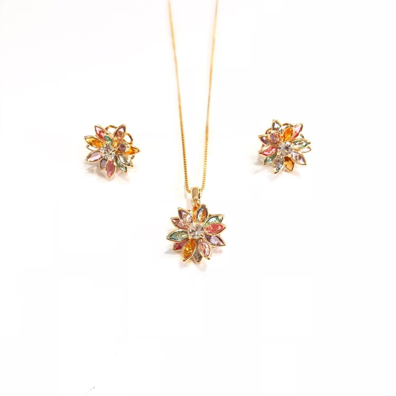 Conjunto Flor Colorida Banho em Ouro 18k