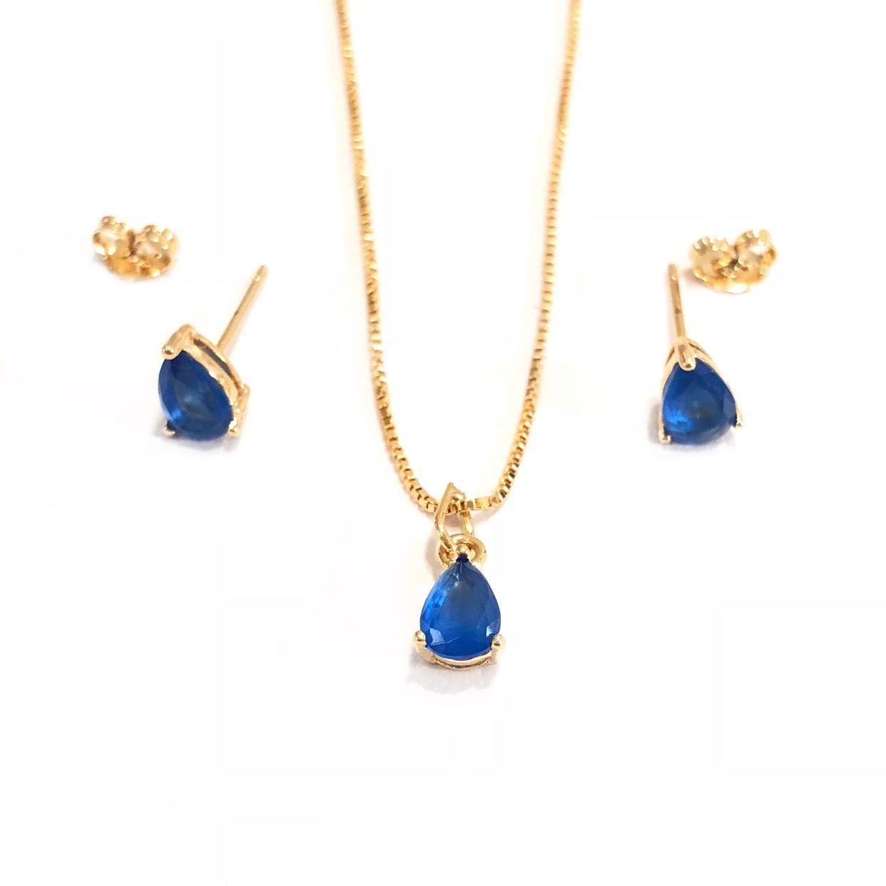 Conjunto Gotinha Azul De Zircônia Banho em Ouro 18k