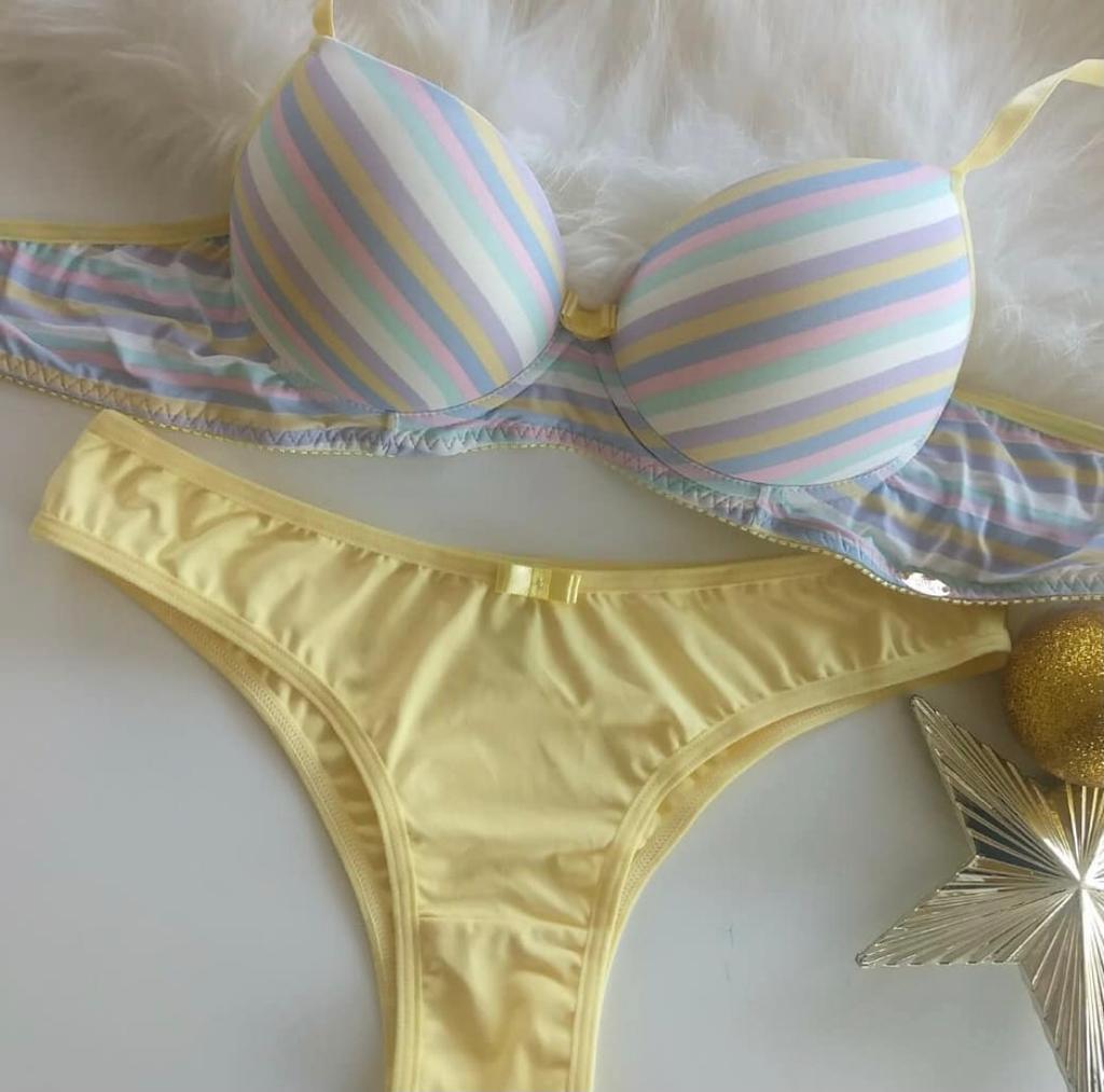 Conjunto Lingerie Amarelo Listrado
