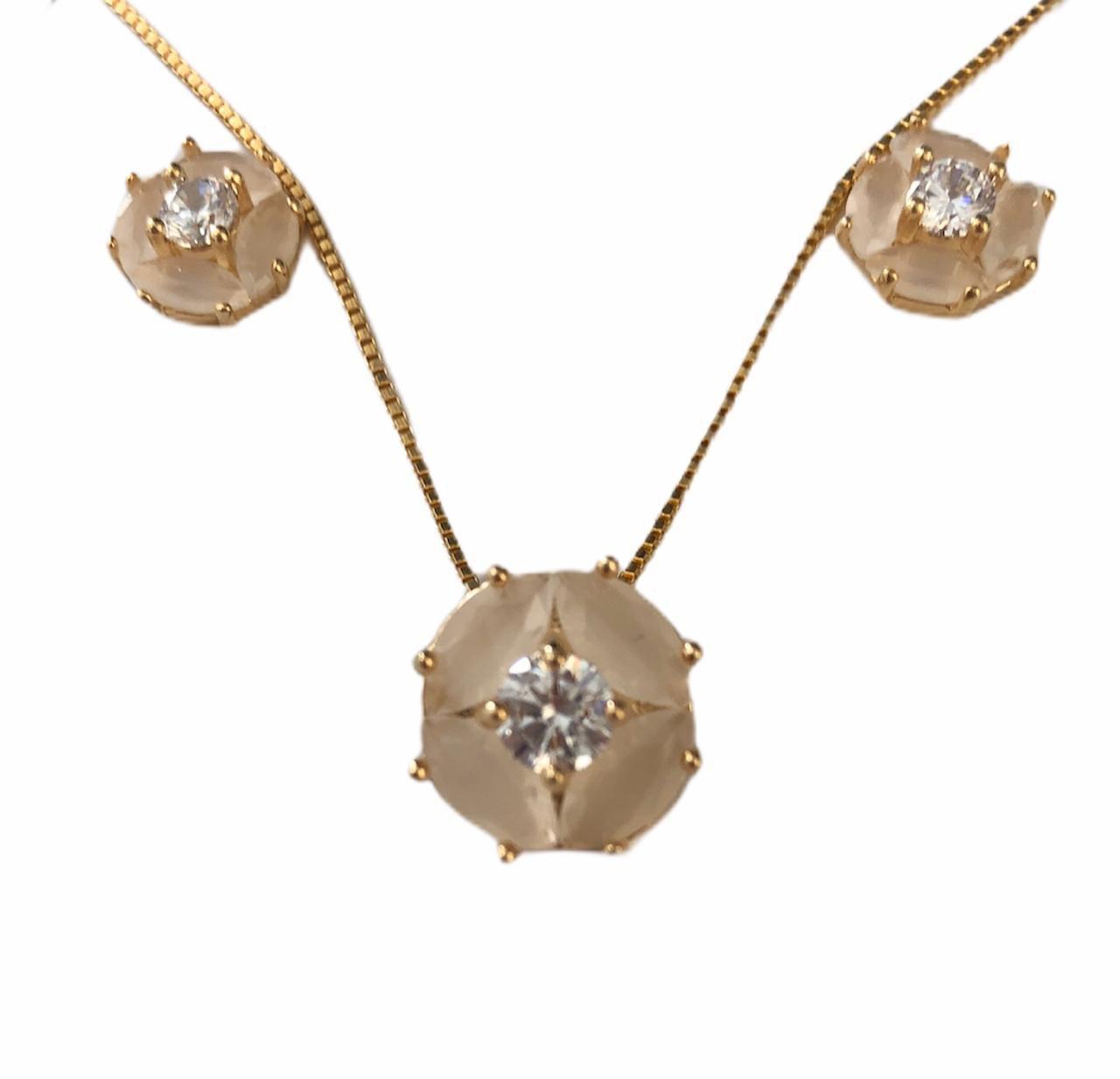 Conjunto Oval Zirconia Opaca Banhado em Ouro 18k