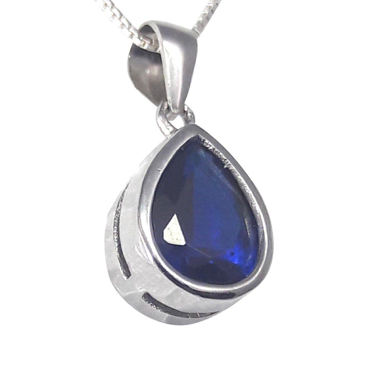 Conjunto Gota Zircônia Azul em Prata 925