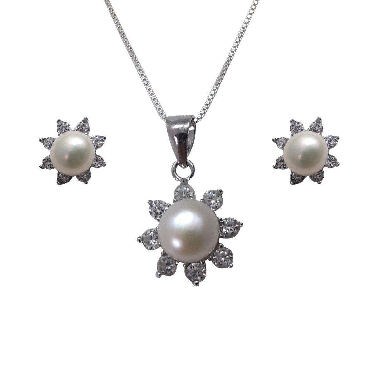 Conjunto em prata 925 Zircônias Brancas e Pérola