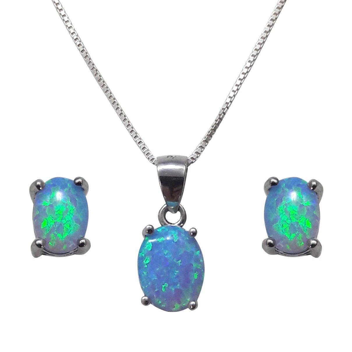 Conjunto Azul em Prata 925