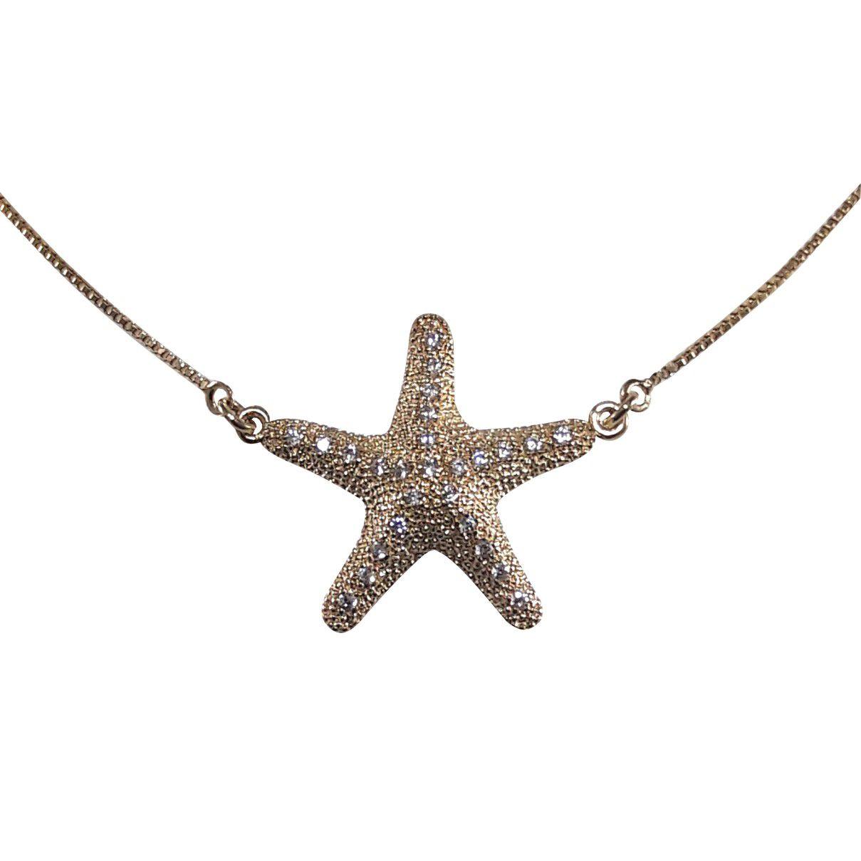 Corrente Com Pingente De Estrela Do Mar Banho Em Ouro