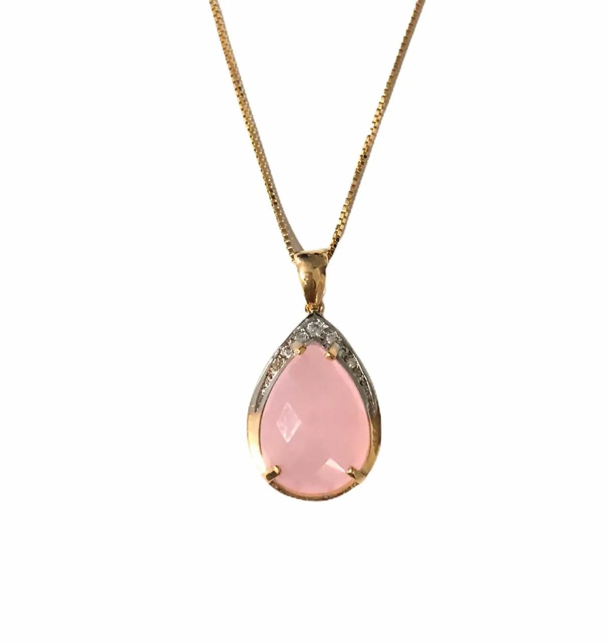 Corrente Gota banhado em rodio e Ouro 18k Pedra Rosa