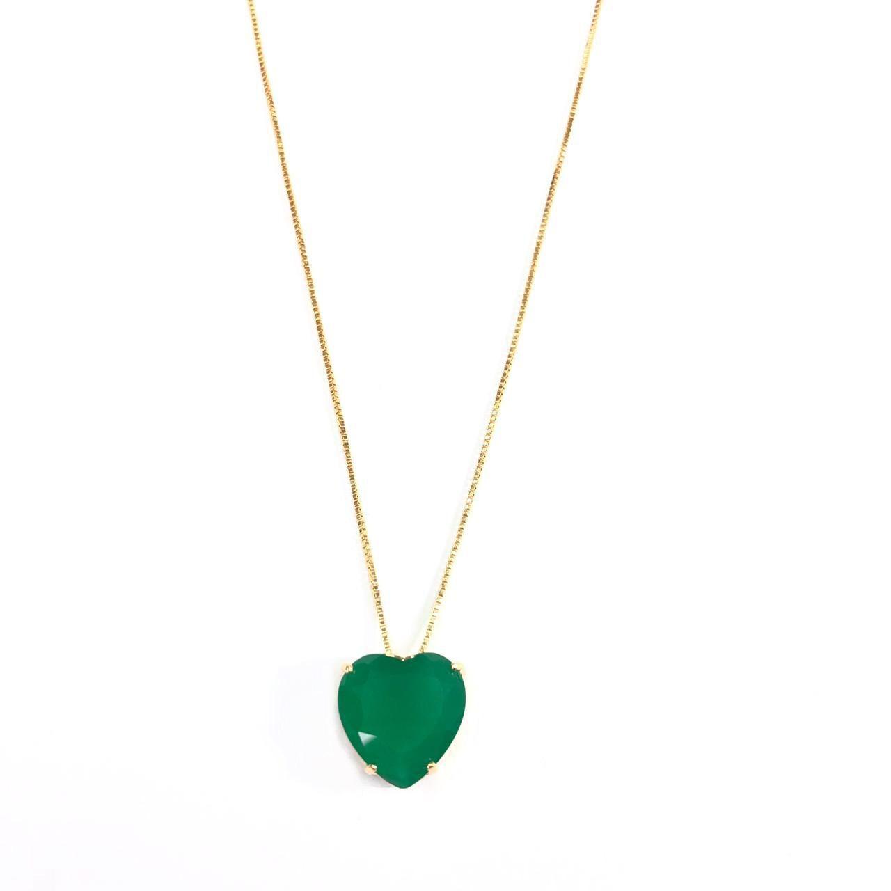 Corrente Pingente Coração Verde Banho em Ouro 18k