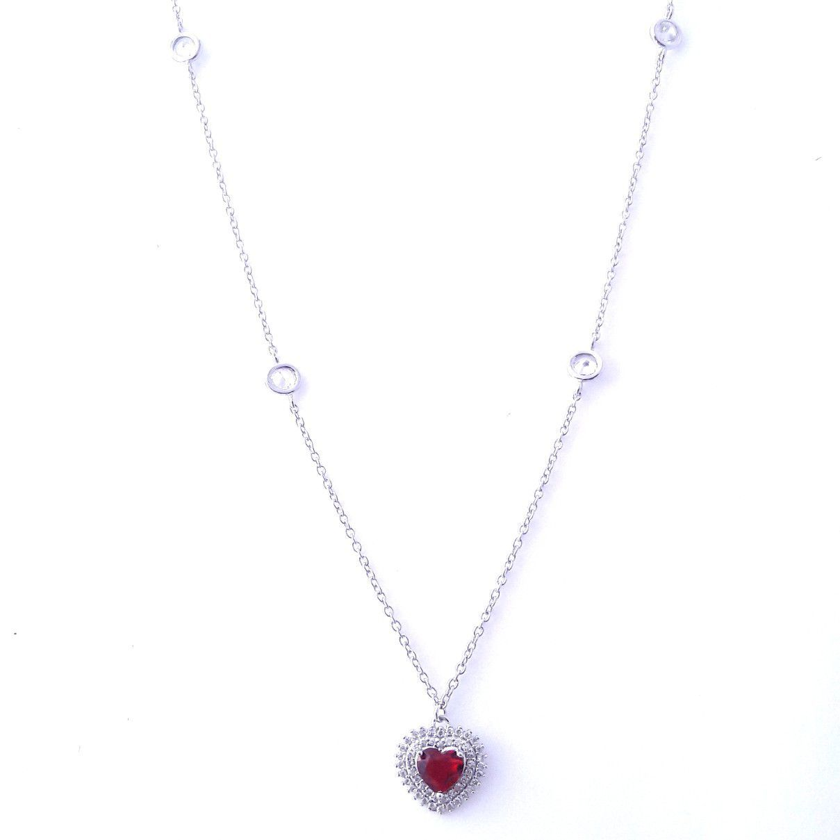 Gargantilha Coração Vermelho Tiff em Prata 925