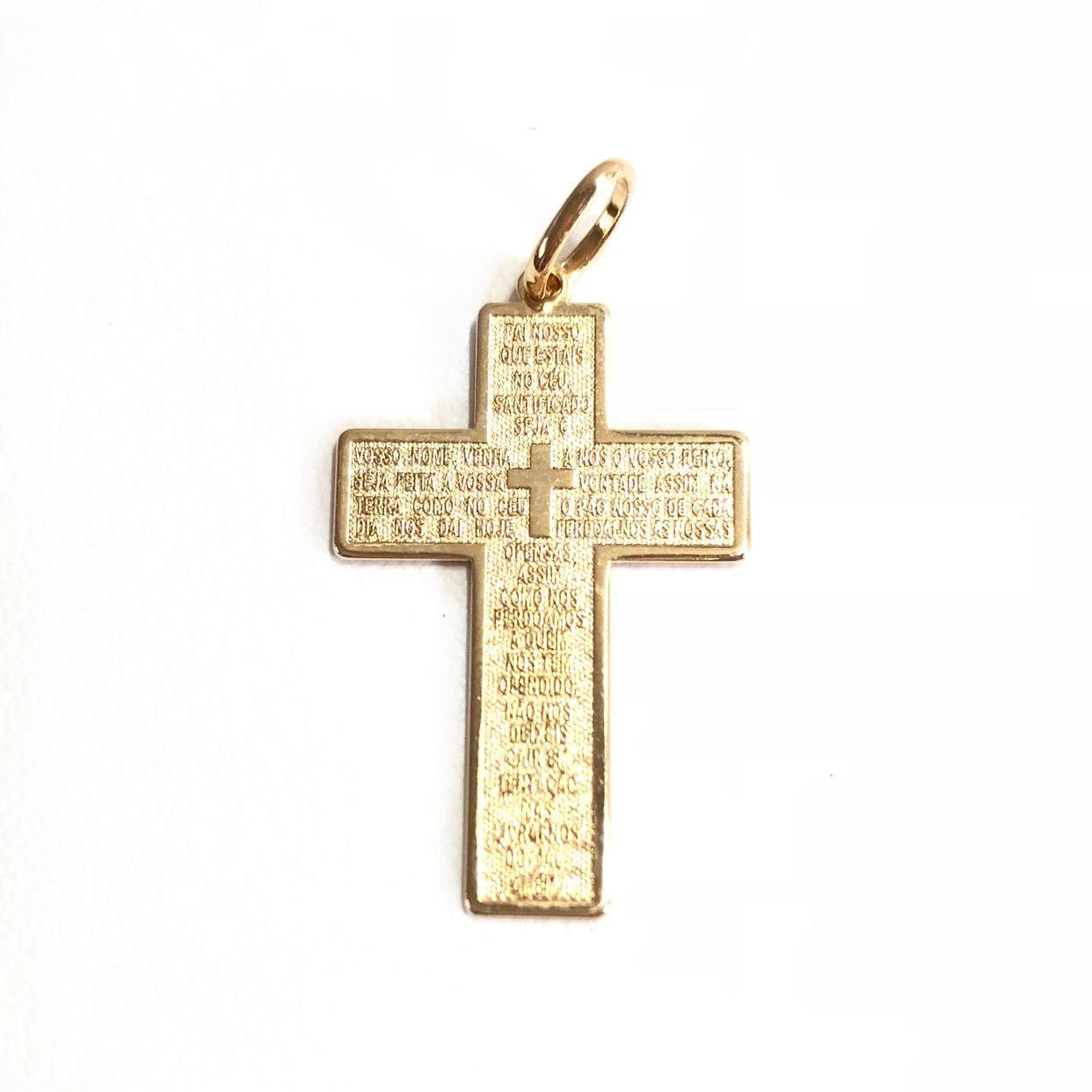 Pingente Jesus Cruz Prata 925 Banho Ouro 18K