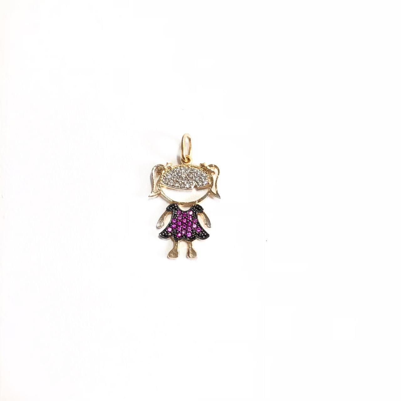 Pingente Menina em Prata 925 Cravejado com Zircônias Cor de Rosa Banho Ouro 18K