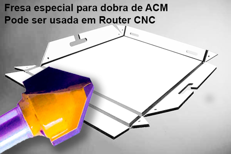 02 Fresas ACM 90 Graus Chanfro Dobra ACM Haste 6mm P/ Tupia