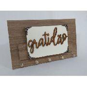 Porta Chaves E Cartas Gratidão Com Kit De Instalação