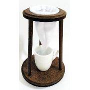 Mini Coador De Café + Xícara Porcelana Suporte Rústico Retrô