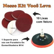 Kit 10 Lixas Velcro Pluma Vários Grãos + Suporte Velcro