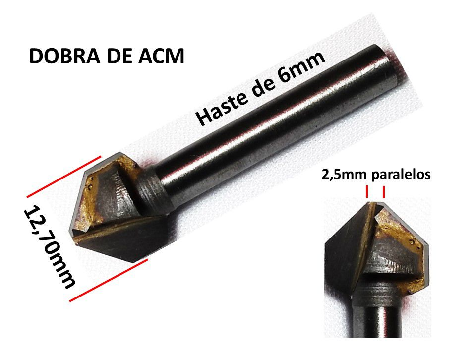 2 PEÇAS - FRESA PARA DOBRA OU CHANFRO DE ACM EM METAL DURO
