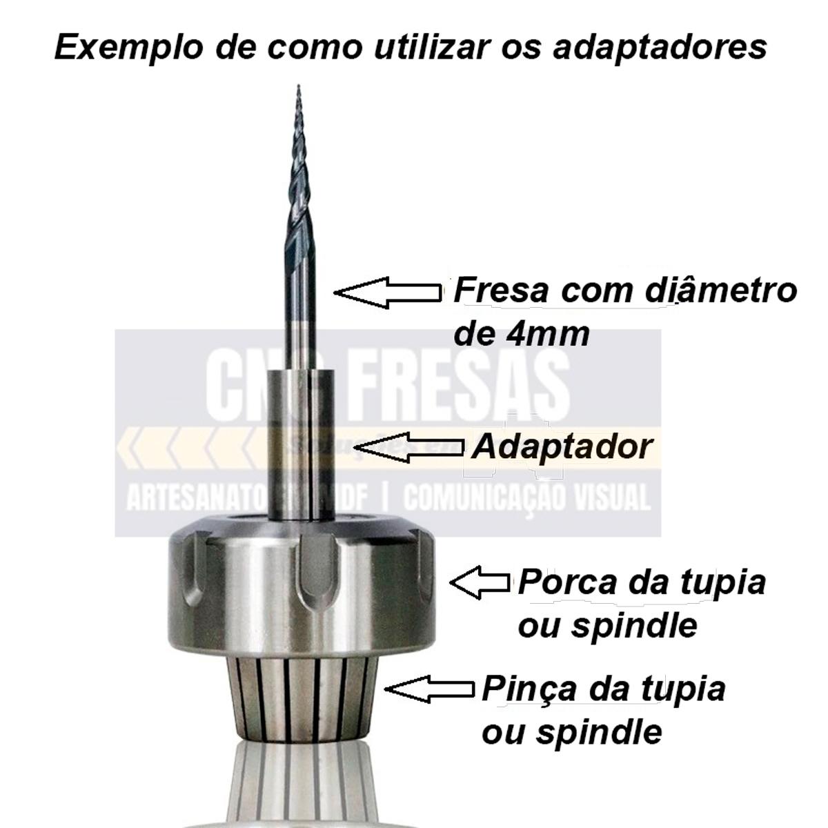 Adaptador Tupia Cnc Retífica Spindle, 1/4 P/ 4mm Router Cnc