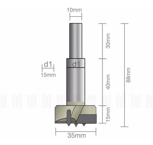 Broca Para Dobradiça Caneco Tipo Forstner Ø 35mm / Videa