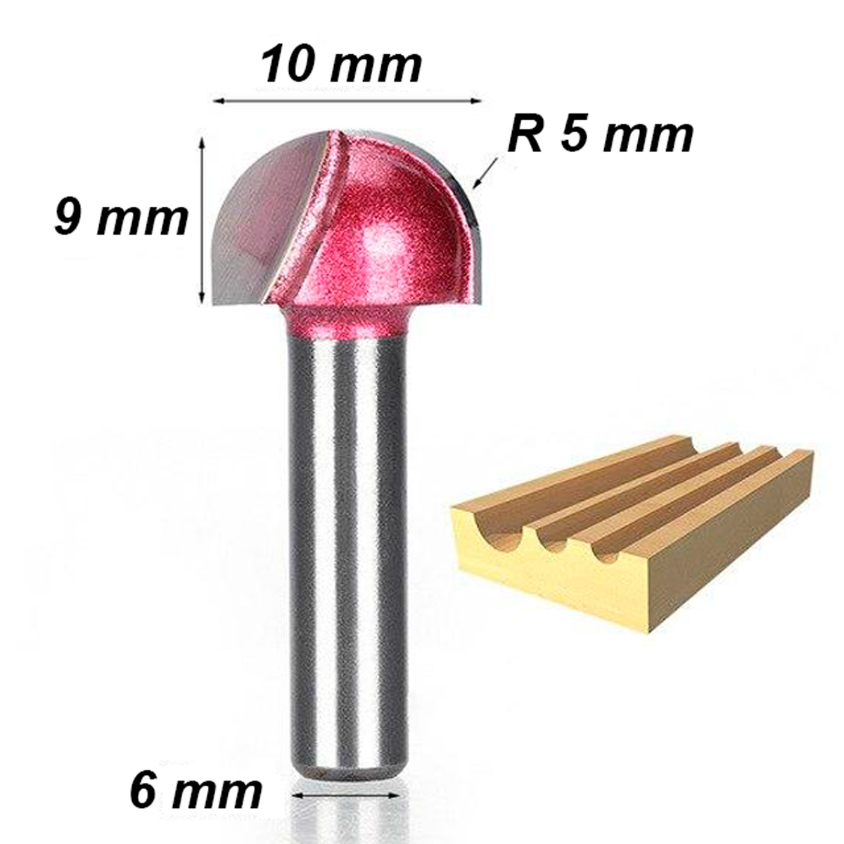 Fresa Ball Nose Cnc Router Madeira Diametro 10,0mm X 6,5mm