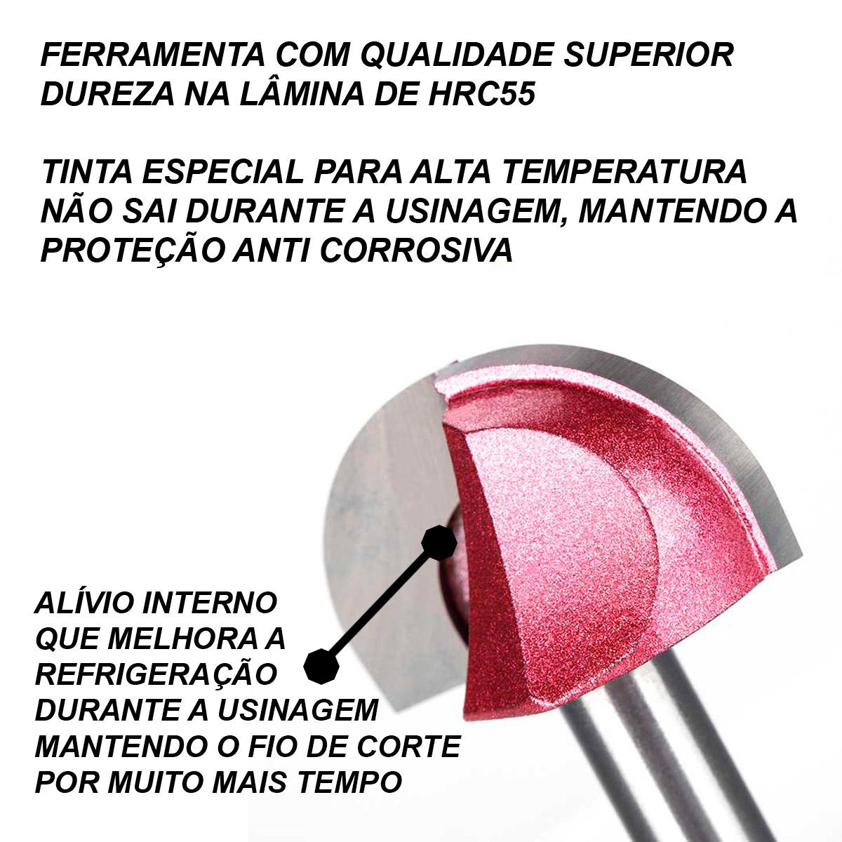 Fresa Ball Nose Cnc Router Madeira Diâmetro 12,0mm