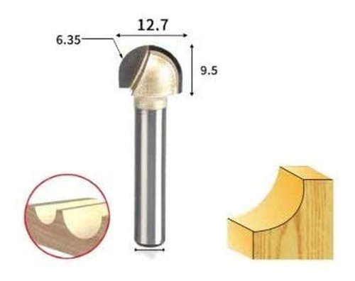 Fresa Ball Nose Ponta Redonda Para Madeira 6mm X 1/2(12,7mm)