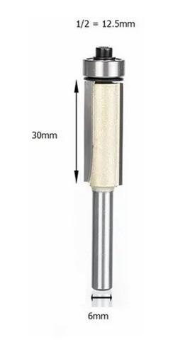 Fresa Reta C/ Rolamento Para Tupia Madeira 6mm X 1/2 (12,5mm)